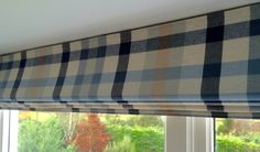 Blue checked Roman blind by Pumblechook.