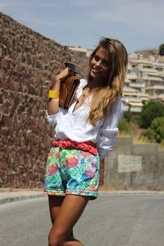 floral shorts and white button down
