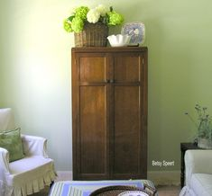 LOVE the basket of hydrangeas for the top of the armoire or hutch