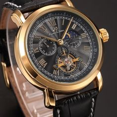 KS Automatic Mechanical Tourbillon Moonphase 12/24-Hour Men s Leather Band Watch
