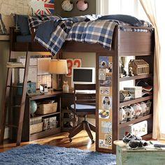Sleep + Study Loft from PBTeen for Rohan's room.