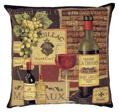 belgian tapestry throw pillow gobelin cushion cover bordeaux wine labels Pauillac