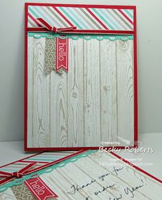 "Cardstock:  Real Red, Whisper White, Coastal Cabana Stamp Set: Hardwood Background, Perfect Pennants Accessories:  Real Red 1/8"" Grosgrain..."