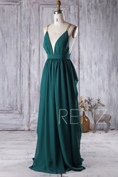 2017 Dark Green Zoho Bridesmaid Dress V Neck Ruched Wedding