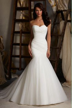 2014 Delicate Sweetheart Mermaid/Trumpet Prom/Wedding Dresses Pleated Bodice With Tulle Skirt Lace Up US$ 188.29 GPPBK3Z3KT - GorgProm.com