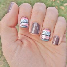 Image via Sweet flower nail art - pink & brown nails Image via Neutral nails with flowers and chevrons. Image via Polish Art Addiction: Basketball Nails they would be PERFECT Perfect Nails, Gorgeous Nails, Love Nails, Pretty Nails, My Nails, Tribal Nail Designs, Cute Nail Designs, Simple Designs, Blue Nail