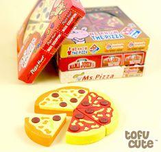 Buy Kawaii Pizza Slice Eraser Set in Box at Tofu Cute