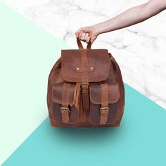 Personalized Full Grain Leather Backpack/Rucksack with Pockets & Drawstring in Tan Brown Unisex Womens Mens Handmade by MAHI Rucksack Backpack, Leather Backpack, Messenger Bag, Thing 1, Luggage Accessories, Mahi Mahi, Back Strap, Satchel, Pouch