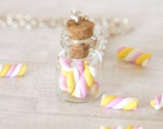 Malvavisco botella polímero arcilla kawaii tarro lindo regalo miniatura alimentos joyería collar