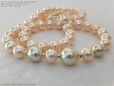 Freshwater Pearl Pale Pinky Peach Off Rounds With Three Golden South Sea Baroque's Pearl Necklace