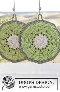 "Taste of Summer - Gehäkelte DROPS Kiwi Topflappen in ""Paris"". - Free pattern by DROPS Design"