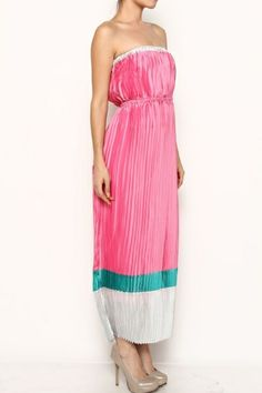 COLORBLOCK PLEATED STRAPLESS MAXI DRESS
