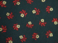 Vintage 1970s fabric in highquality unused cotton/ synthetic with red/ gold printed flower pattern on dark green bottomcolor on Etsy, $10.53 AUD