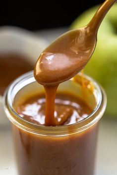 The best Homemade Caramel Sauce is SO EASY to make! My favorite with apple slices & by the spoonful. It's perfect for cakes, cupcakes, ice cream, & more!
