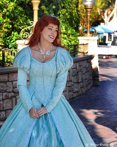 Princess Ariel Just realized something underneath her gown is showing on her right side.oh well! still lovely! Ariel Disney World, Disney Fairies, Disney Dream, Disney Girls, Disney Princess Dresses, Princess Costumes, Princess Wedding Dresses, Royal Princess, Princess Bubblegum