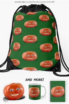 "*  ""Smiling Tomato - Have a Nice Day!"" Drawstring Bags by Gravityx9 