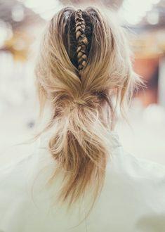 Single braid and bun.