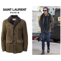 Harry Styles' Saint Laurent Shearling Jacket - Red Carpet Fashion... ❤ liked on Polyvore featuring one direction, harry styles, harry, 1d and jackets