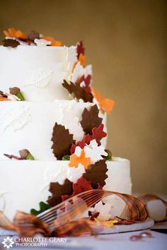 Autumn Wedding Cake With Sugar Leaves In Red Orange And Brown