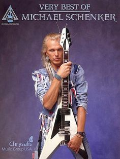 Michael Schenker little brother of Rudolf Schenker, with his guitar the Gibson Flying V