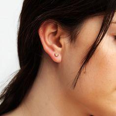 Dainty Earrings, Moon Earrings, Earrings Handmade, Stud Earrings, Looking Stunning, Solid Gold, Anniversary Gifts, Gifts For Mom, Jewelry Box