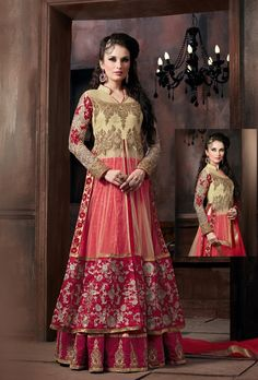 Red and beige party wear lehenga with dupatta