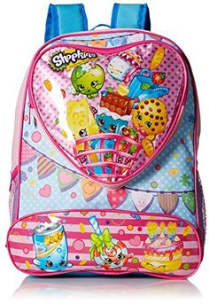 Shopkins Girls' 16 Inch Backpack Heart Shaped Pocket -Pink Color * Find out more about the great product at the image link. (This is an affiliate link)