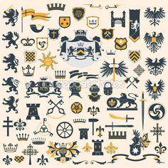 Набор геральдических элементов дизайна — стоковая иллюстрация #10558772