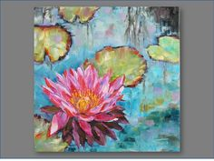 Original Oil Painting- Water Lilly- Modern, Contemporary 8x8. $80.00, via Etsy.