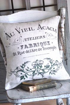 French Garden Cotton and Burlap Pillow Cover Grainsack Pillow Green Burlap Pillows, Decorative Pillows, Throw Pillows, French Country Cottage, French Country Style, French Decor, French Country Decorating, French Pillows, French Linens
