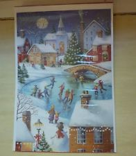 Hallmark DaySpring Winter Wonder advent calendar card ice skating scene, puzzles