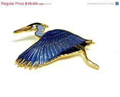 William Spear Bird Brooch Great Blue Heron by thejewelseeker