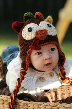 Crocheted Turkey Hat Pattern. For Baby or Kids.