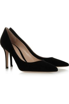 Hand-finished Heel measures approximately 85mm/ 3.5 inches Black suede Pointed toe Slip on