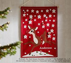 """Classic Rudolph the Red-Nosed Reindeer® Advent Calendar -- 38"""" wide x 30"""" high Expertly sewn of cotton linen."""