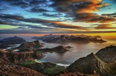 Shows part of the western islands. Shot from a mountain in Vestvaagoy island named as Himmeltind. ISLANDS IN THE SUN Lofoten, Norway Wallpaper, Hd Wallpaper, Wallpapers, Cool Landscapes, Beautiful Landscapes, Landscape Paintings, Photomontage, Norway Beach