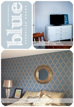 Stenciling a blue room? Cutting Edge Stencils shares some color insights and stencil tips! http://www.cuttingedgestencils.com/moroccan-stencil-marrakech.html