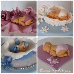 Emmas KakeDesign: Hvordan lage søteste baby til dåpskaken ! Marshmallow Fondant, Fondant Baby, Cake Tutorial, Diy Tutorial, Diy Step By Step, Little Babies, Bassinet, Christening, Cake Toppers