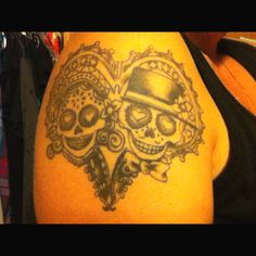 Day of the dead couple tattoo.... This is an idea for Brandon and I when we get married. He gets the bride and I get the groom.