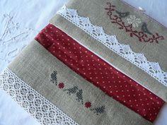 patchwork linen & polka dots - lace - cross stitch