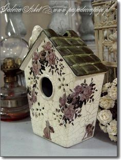 450~Ceramic and Roses bird house