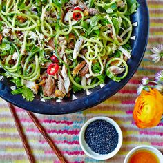 Sesame Chicken Salad with Cucumber Noodles recipe