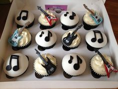 Guitar Cupcakes by OH MY Sugar Pie x #guitar #cupcakes #music #boyscakes