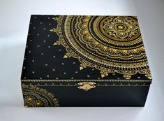 [orginial_title] – misav Gold mandala jewelry box Jewellery wooden box Wooden box Acrylic painting Exclusive design Hand painted box Henna mandala Mehndi art Jewelry For Sale Online Wooden Box Crafts, Painted Wooden Boxes, Painted Jewelry Boxes, Wooden Diy, Hand Painted, Jewellery Boxes, Jewellery Storage, Diy Jewellery Box Cardboard, Jewelry Pouches