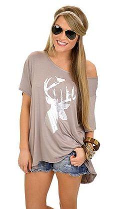 Silver Deer Tee :: NEW ARRIVALS :: The Blue Door Boutique