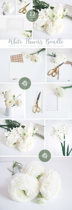 The White Flowers mockups bundle by Tabita's shop on @creativemarket styled stock
