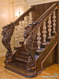 Stairs with Sculpture Design - Side Tutorial and Ideas Staircase Railings, Modern Staircase, Staircase Design, Stairways, Bannister, Reling Design, House Design, Interior Design, Unique Furniture