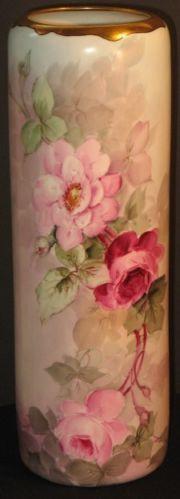 porc.VIENNA___PH Leonard Antique Porcelain HP Vase Roses Vienna Austria