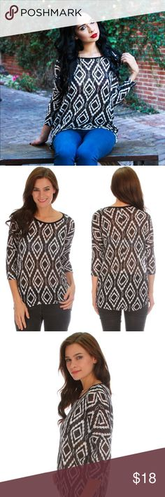 🌟SALE🌟 Black & White Diamond Hi Lo Top Black and White Tribal Diamond Patterned 3/4 Sleeve High Low Knit Top - Made with Love in the USA 🇺🇸 Lyss Loo Tops Blouses