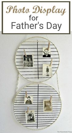 Barbecue grill rack repurposed into a photo display for Father's Day, Diy Craft Projects, Craft Tutorials, Craft Ideas, Easy Crafts, Easy Diy, Photo Displays, Dollar Stores, Diy For Kids, Decorating Tips